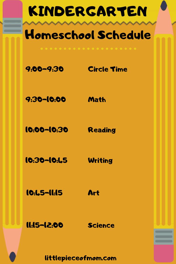 Kindergarten Homeschool Schedule A Little Piece Of Mom